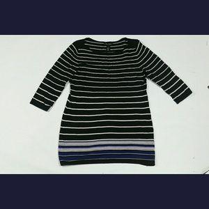 White House Black Market WHBM Tunic Top Stripes